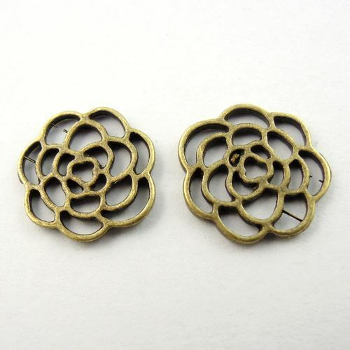 16mm Alloy Antiqued Bronze Color Hollowed Flower Craft Pendant Charm 100 pcs