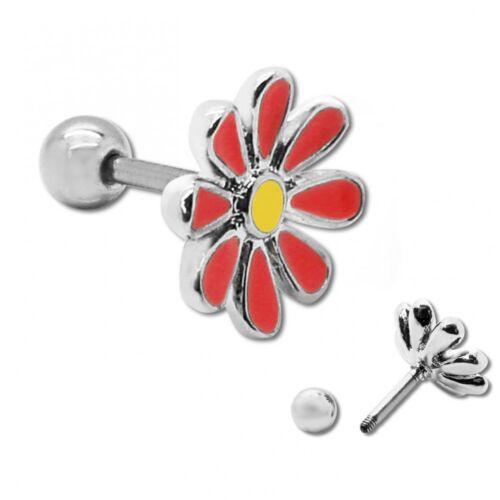 Schicker Edelstahl Piercing Fakeplugs Blume Helix Knorpel rosa weiß Ohr Stecker