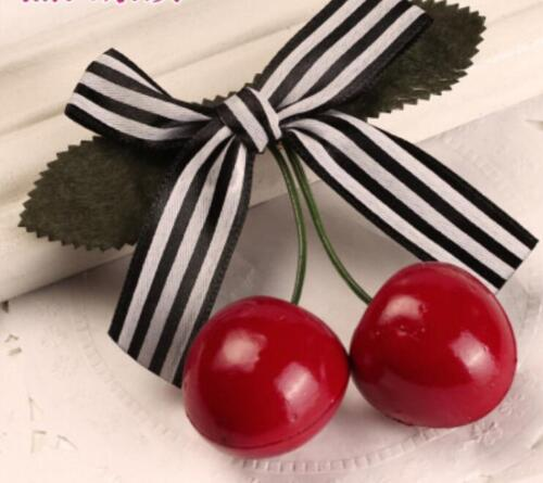 2x Sweet Girl Kids Retro Vintage Pink Bow Cherry Hair Clip Hairpin 8.5*8cm HH