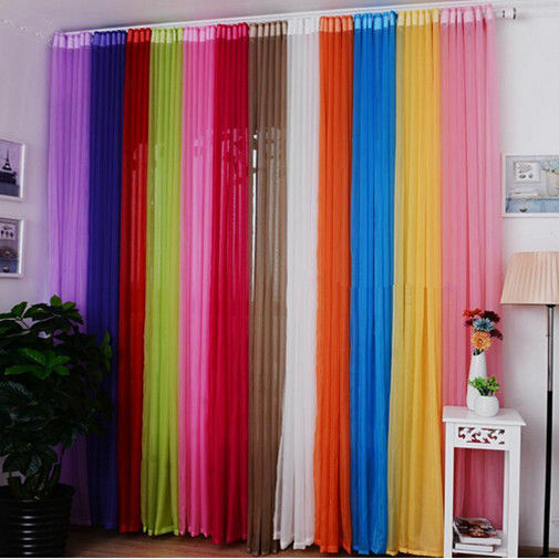 1/2PC Tulle Voile Door Window Curtain Drape Panel Sheer Scarf Valances Divider 0