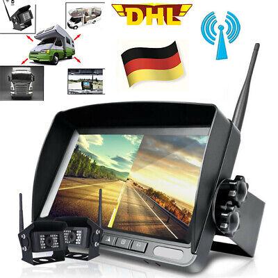 """2xDIGITAL Kabellos Auto Rückfahrkamera Funk 7/"""" LCD Split Monitor LKW RV 12V 24V"""