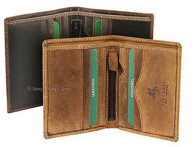 Visconti Da Uomo Compatto Hunter Leather RFID Blocco Portafoglio per le schede, note 705 | eBay