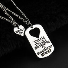 MOMMY'S GIRL 2 PIECE NECKLACE SET MOTHER DAUGHTER GIFT CHARM PENDANT SET #KC10