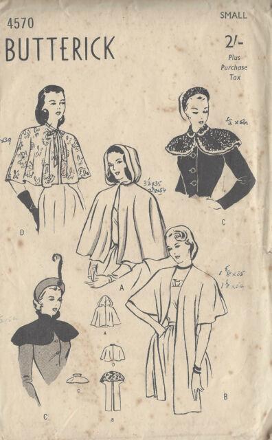 1940s WW2 Vintage Sewing Pattern B32-34 CAPE & STOLE (1087)