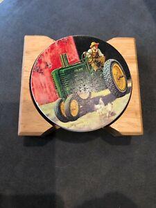 Set of 4 John Deere Ceramic & Cork Beverage Coasters with Wooden Holder