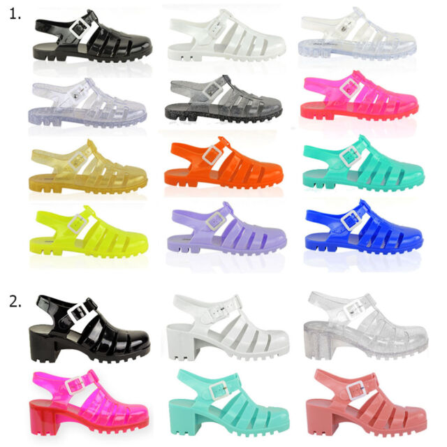 RETRO JELLY SANDALS LADIES WOMENS GIRLS SUMMER BEACH FLAT FLIP FLOPS SHOES SIZE