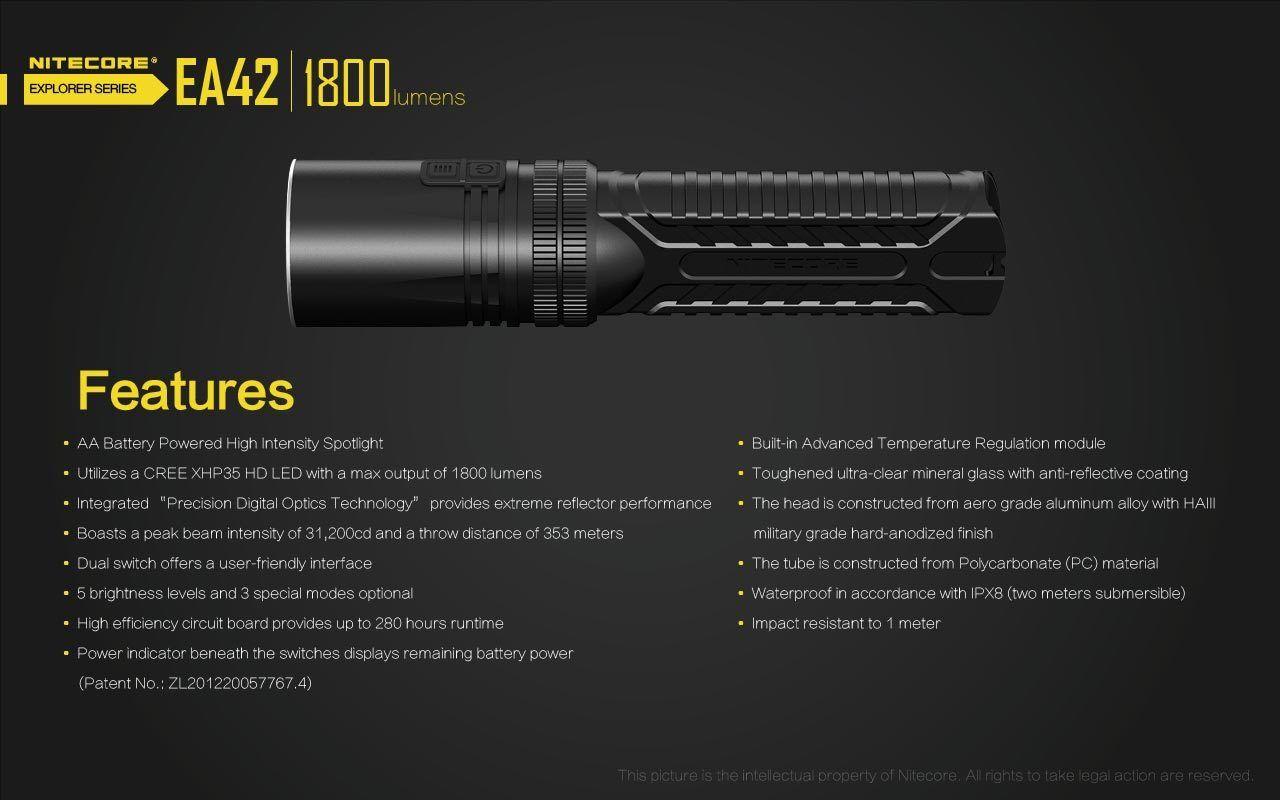 Nitecore Ea42 1800 Lumen Aa Taschenlampe/Suchscheinwerfer Cree XHP35 Led HD