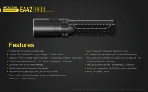 Nitecore EA42 1800 lm AA Lampe Torche//projecteur-CREE XHP35 DEL HD