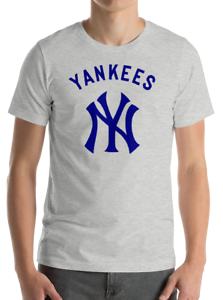 New-York-YANKEES-gray-T-Shirt-Graphic-Cotton-Men-Adult-Logo-Jersey-NY-S-2XL