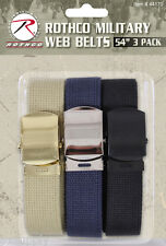 "military web belt 3 pack with metal buckle 54"" length rothco 44170"