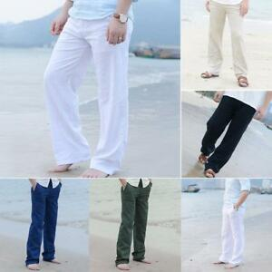 Mens-Linen-Loose-Pants-Beach-Drawstring-Yoga-Casual-Long-Slacks-Trousers-New