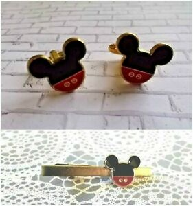 59353b728cff Z63 Disney Mickey Mouse Tie Clip Clasp Bar Cuff Links Gift Father's ...