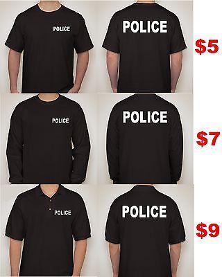 $5 Police T SHIRT Cop T SHIRT BLACK TEES S-3XL