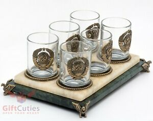 Six Shot glasses with Bronze USSR Coat of arms heraldic & stone glass holder