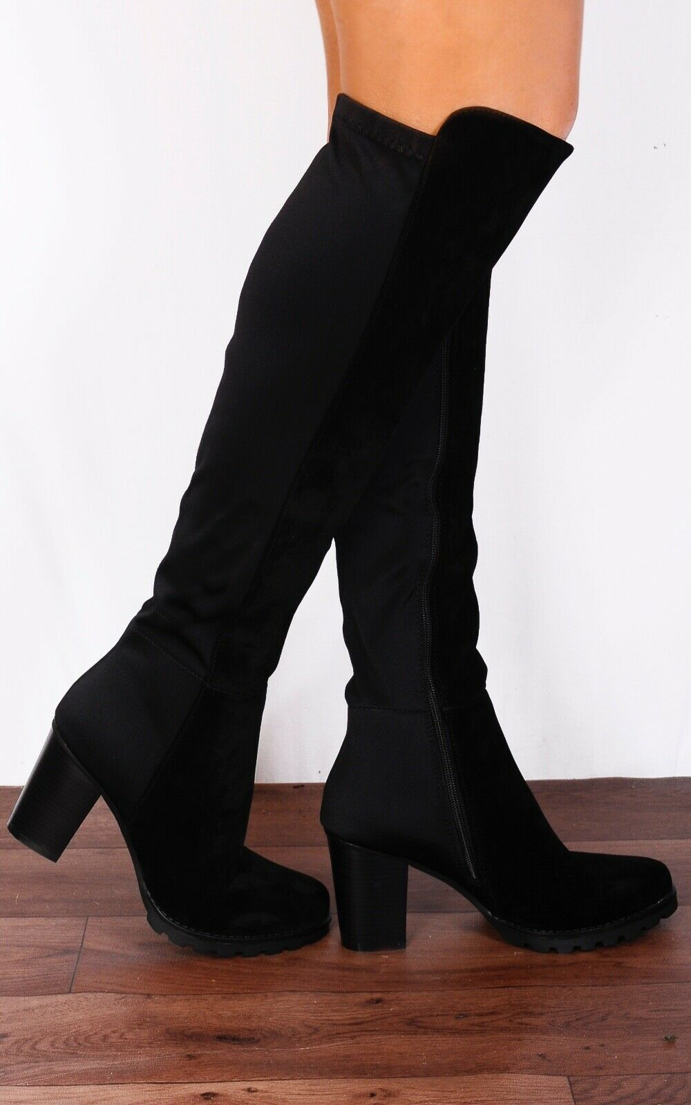 BLACK ELASTICATED CLEATED PLATFORMS KNEE HIGH BLOCKED HEELED ANKLE BOOTS SHOES