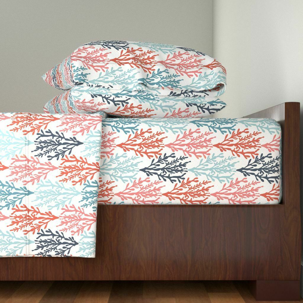 Coral Modern Nautical Living Coral Teal 100% Cotton Sateen Sheet Set by Roostery
