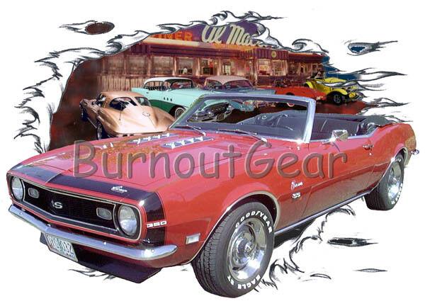 1968 ROT Chevy Camaro Convertible Custom Hot Rod Diner T-Shirt 68 Muscle Car Tee