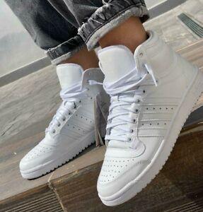 New adidas Originals Top Ten Mens white Leather Hi Top Athletic sneaker all sz
