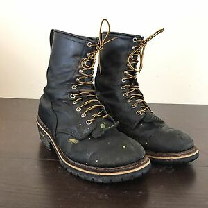RED WING 699 WILDLAND FIRE FIGHTING LOGGER BOOTS BLACK LEATHER SIZE 10.5 D