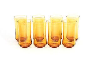 SET-OF-8-VINTAGE-LIBBEY-MID-CENTURY-ORANGE-TUMBLER-DRINKING-GLASSES-1960s