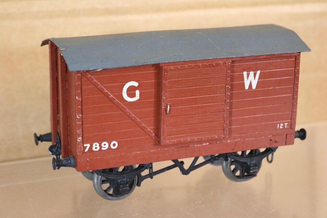 VINTAGE KIT BUILT O SCALE WOODEN GW GWR BROWN CLOSED GOODS VAN WAGON 7890 nr
