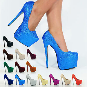 NEW WOMENS LADIES CONCEALED PLATFORM STILETTO HIGH HEELS COURT ...