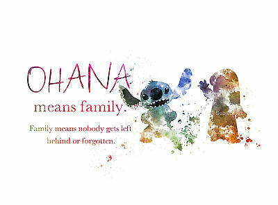 Ohana Means Family Poster A4 Glossy Print Lilo and Stitch Quotes Wall Art Decor