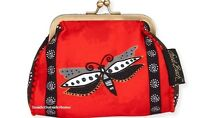 Laurel Burch Dragonfly Coin Purse 5.5x4.75 Red Black 2017