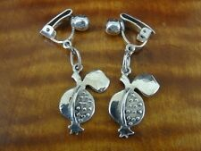 Vintage Fruit Design signed MK Dangle Sterling Silver 950 Clip On Earrings