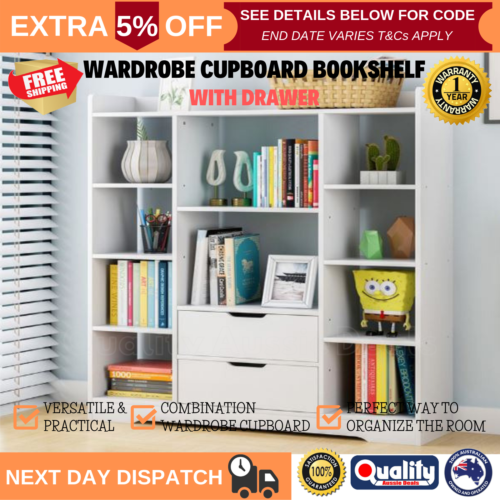 Details About 1 2m Wooden Home Office Bookcase Shelves 2 Drawers Storage Shelf Display Stand
