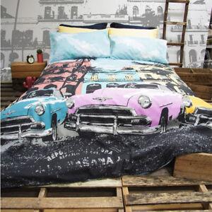 Retro-Home-Havana-Aqua-Vintage-Cars-Queen-Bed-Quilt-Doona-Duvet-Cover-Set