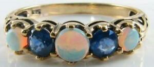 9CT-9K-GOLD-OPAL-SAPPHIRE-VINTAGE-INS-ETERNITY-5-STONE-RING-FREE-RESIZE