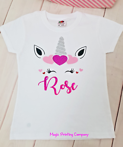 PERSONALISED Unicorn Valentines Day T-shirt Top Outfit Girls Photoshoot birthday