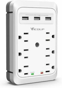 6-Outlet-Extender-Adapter-Multi-Plug-Wall-Outlet-w-3-USB-Ports-Surge-Protector