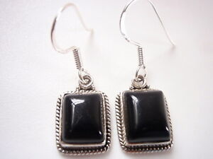 Black-Onyx-with-Fine-Rope-Style-Accents-925-Sterling-Silver-Dangle-Earrings
