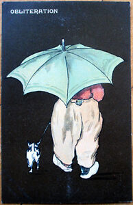 1910-Raphael-Tuck-Postcard-Dog-amp-Boy-039-Obliteration-039-Quaint-Hollander-Litho