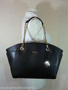 NWT FURLA Onyx Black Saffiano Leather Julia Chain Tote Bag  428 ... c5d1ab1926294