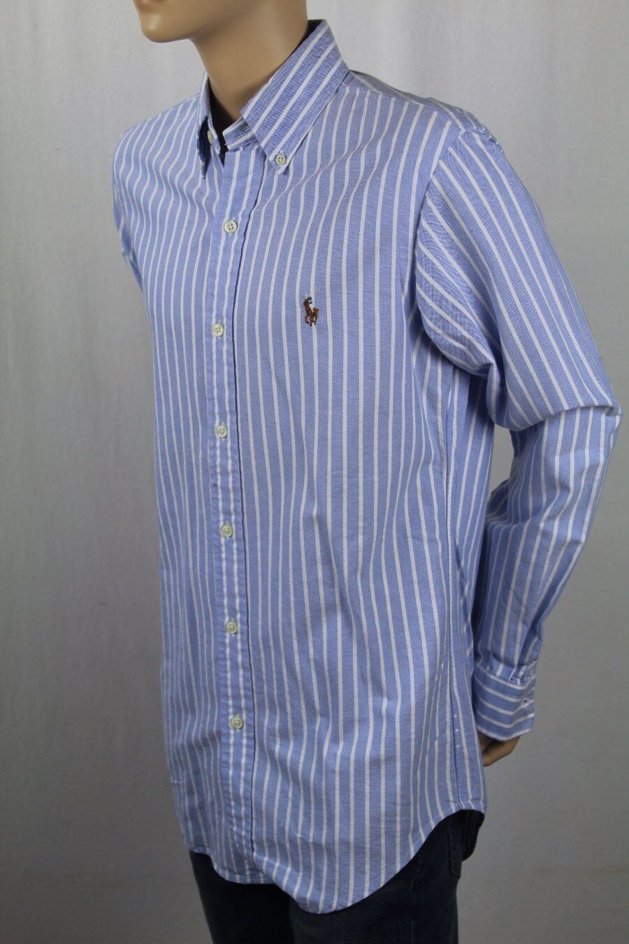 Ralph Lauren bluee Striped Classic Oxford Dress Shirt Multi colord Pony NWT