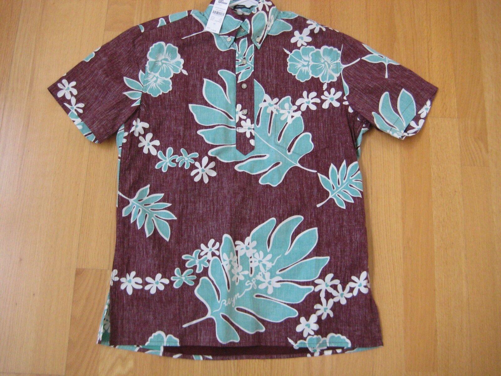 NWT  REYN SPOONER XS floral brown classic fit men's Hawaiian aloha shirt