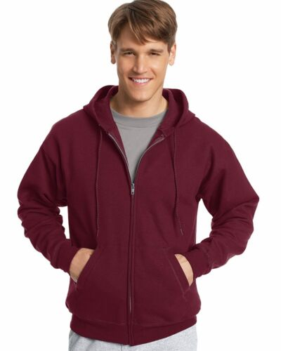 Hanes Mens NEW Size S-3XL Full Zip Hooded Sweatshirt Jumper Hoodie 50//50