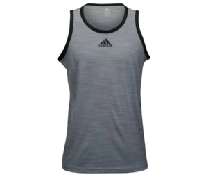 172d64c76d2dd adidas Men s Basketball Heathered Tank Top grey   black S11542 Size ...
