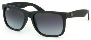ray ban wayfarer original black  NEW Genuine RAY-BAN JUSTIN WAYFARER Matte Black Rubber Sunglasses ...