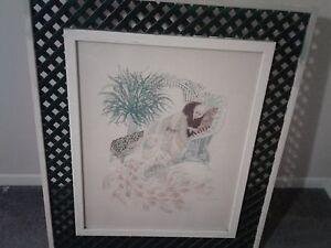 Harry-Wysocki-Signed-034-Lady-amp-Peacock-034-Lattice-Framed-Print-Lithograph-41-034-x-35-034