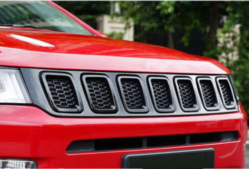 fits 2017-18 Jeep Compass Front Grille Inserts Mesh Grill Trim Accessories-Black