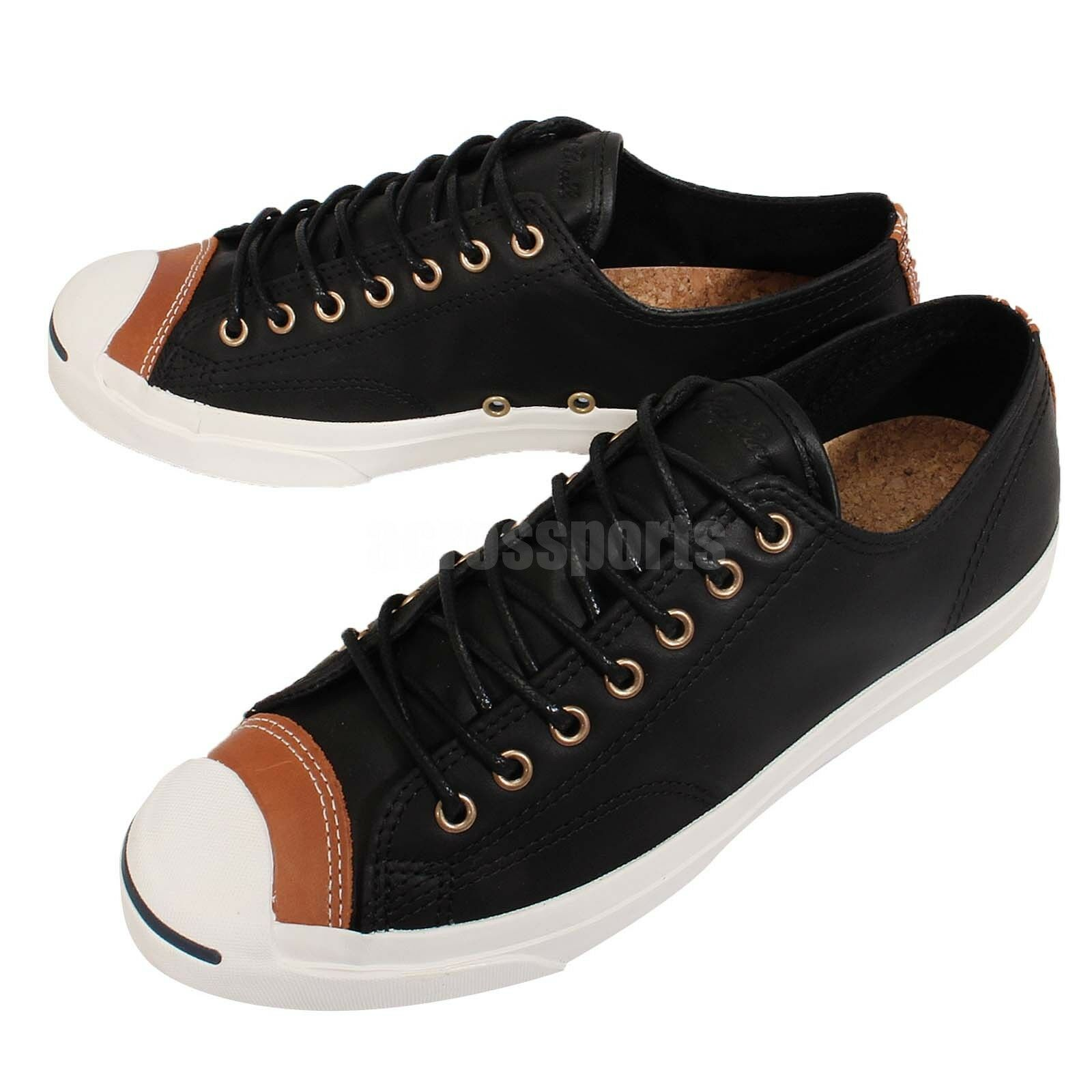 Converse Jack Purcell Jack Noir Blanc Leather Mens Womens Casual Chaussures 150293C