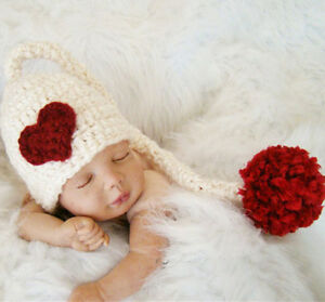 Crochet Newborn Photography Girl Knit Heart Love Hat Cap Costume Baby Photo Prop
