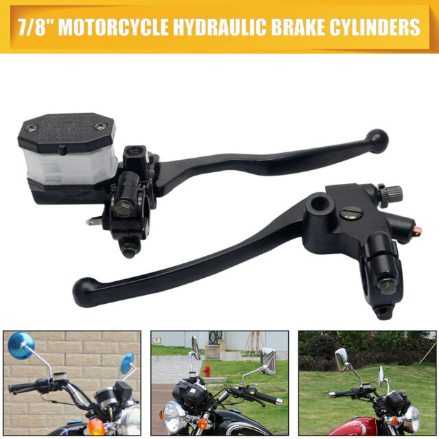 Pair 7/8'' Motorcycle Hydraulic Brake Clutch Lever Master Cylinder Reservoir