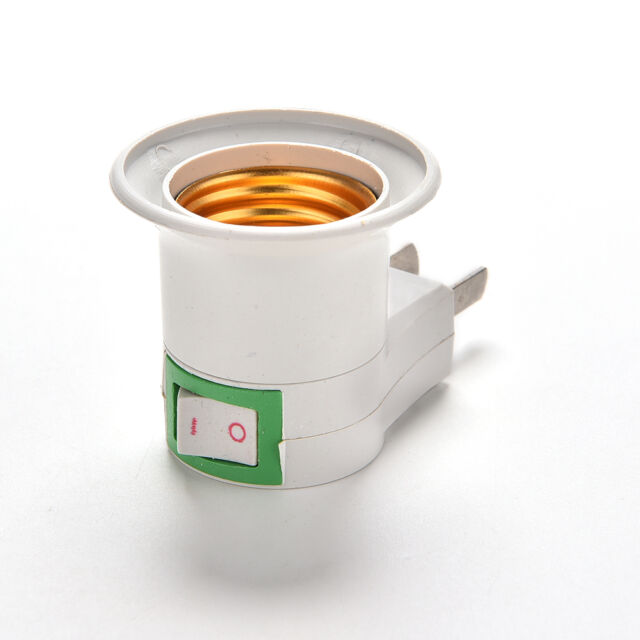 E27 LED Light Male Socket to US AU Type Plug Adapter Converter for Bulb Lamp HER