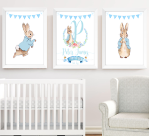 Details About Peter Rabbit Nursery Prints Set Of 3 Boys Room Decor Wall Art Pictures Baby