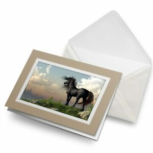 Greetings-Card-Biege-Fantasy-World-Black-Horse-Art-15701